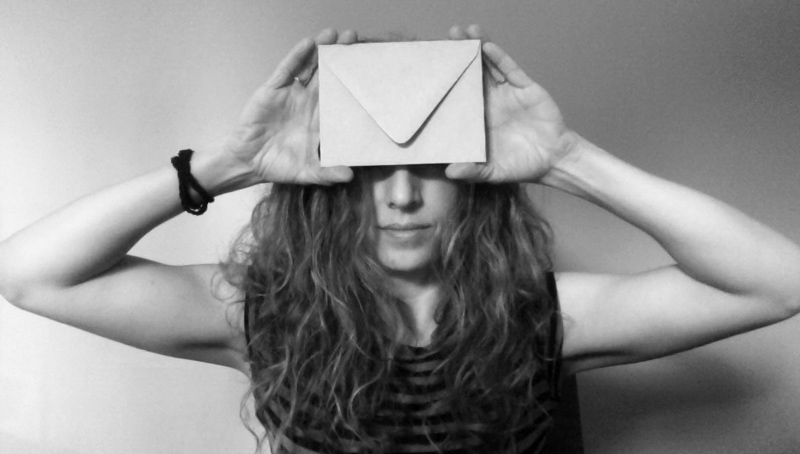 Amy Finder with envelope